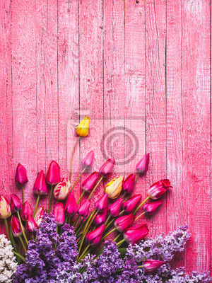 Various tulips and lilac