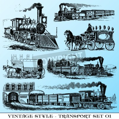 Sticker various Vintage-style illustrations  - ancient transport set