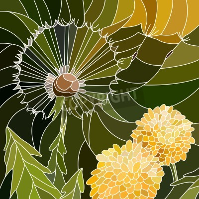 Sticker Vector abstract mosaic with large cells of group of dandelion on green.