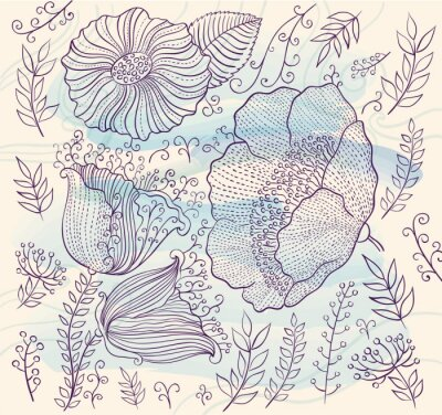 Sticker Vector background with beautiful flowers and leaves