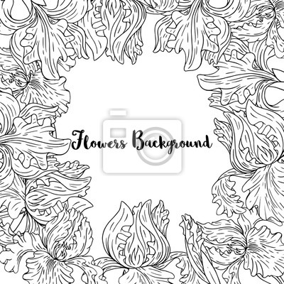 Sticker vector background with iris flowers and leaves