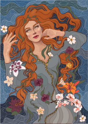 Sticker vector beautiful red-haired girl in an old-fashioned dress, waves of the river, water, and flowers