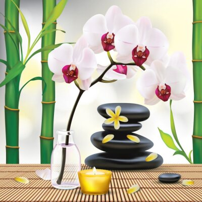 Sticker Vector Beautiful Spa Composition With Zen Stones