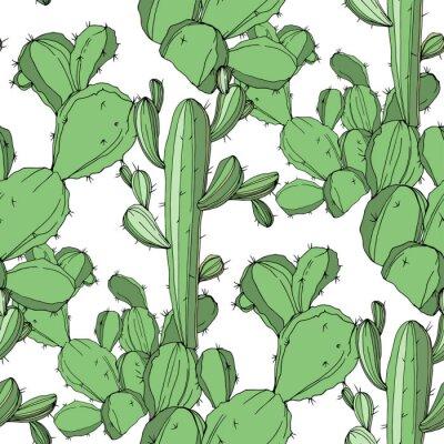 Sticker Vector Cactus. Green engraved ink art.Seamless background pattern. Fabric wallpaper print texture.