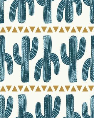 Sticker vector cactus stripe and triangles cream seamless repeat pattern background