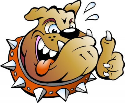 Sticker Vector Cartoon illustration of an excited Bull Dog giving Thumb Up