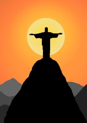 Sticker Vector : Christ the Redeemer vector background