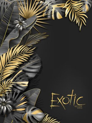 Sticker Vector exotical background with black and gold tropical leaves on dark gray background. Luxury exotic botanical design for spa, perfume,cosmetics, aroma, beauty salon etc.