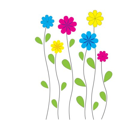 Sticker Vector floral background with hearts