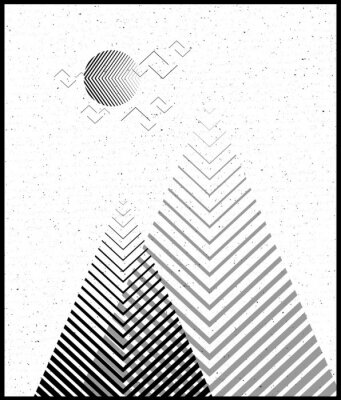 Sticker Vector geometric triangle background, abstract mountains.Conceptual background, with mountains.Flat design, with minimal elements.Use for card, poster, brochure,banner.Black and white Interior print.