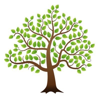 Sticker Vector green tree on white background