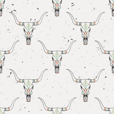 Sticker Vector grunge seamless pattern with bull skull and ethnic ornament