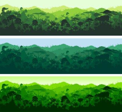 Sticker Vector horizontal seamless tropical rainforest Jungle background