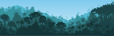 Sticker Vector horizontal tropical rainforest Jungle background