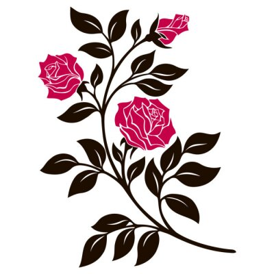 Sticker vector illustration, decoration element, black and white rose branch with red flowers