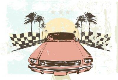 Sticker Vector illustration - High speed racing car on grunge background