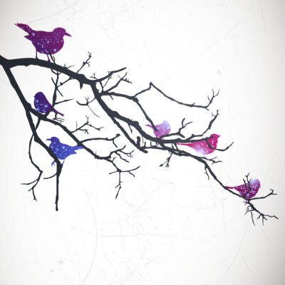 Sticker Vector Illustration of a Branch with Birds