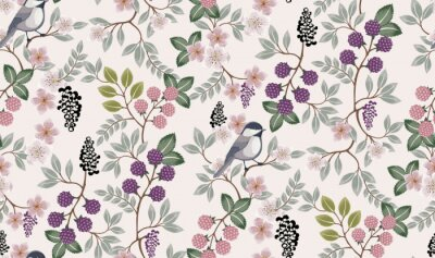 Sticker  Vector illustration of a seamless floral pattern with cute birds in spring for Wedding, anniversary, birthday and party. Design for banner, poster, card, invitation and scrapbook