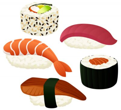 Sticker Vector illustration of a variety of sushi.