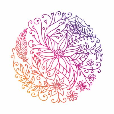 Sticker Vector Illustration of an Abstract Ornamental Circle