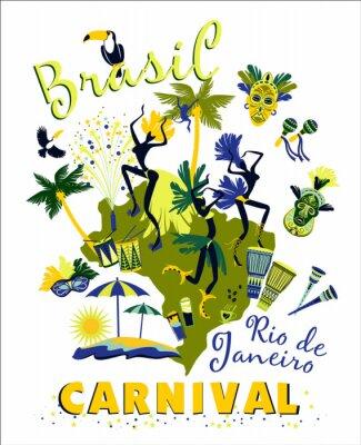 Sticker Vector illustration of Brazilian Carnival.