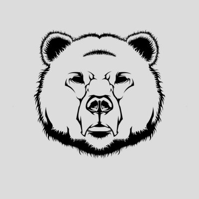 Sticker Vector illustration of grizzly bear head