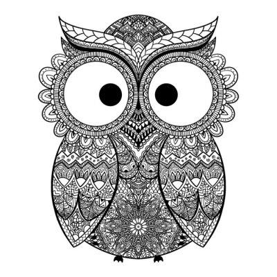 Sticker Vector illustration of ornamental owl.