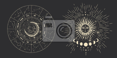 Sticker Vector illustration set of moon phases. Different stages of moonlight activity in vintage engraving style. Zodiac Signs