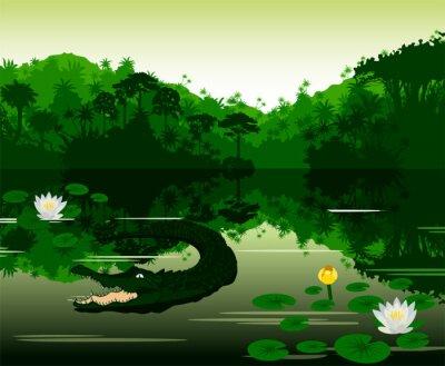 Sticker Vector Illustration Tropical river with crocodile