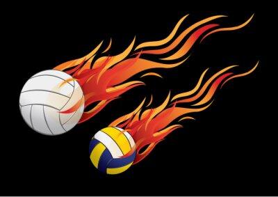 Sticker vector illustration volleyball fire sport