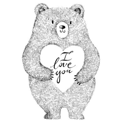 Sticker Vector illustration with adorable cute bear