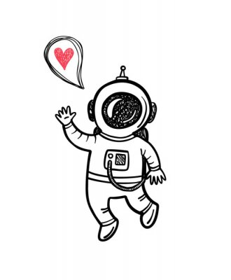 Sticker Vector illustration with doodle astronaut