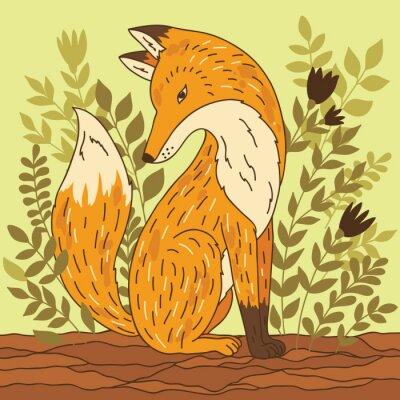 Sticker Vector illustration with fox