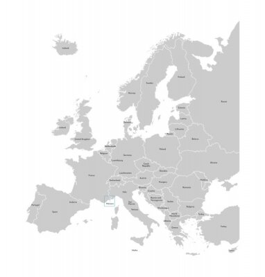 Sticker Vector illustration with simplified map of Europe with blue contour of Monaco. Grey silhouettes, white outline of states' border