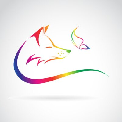 Sticker Vector image of fox and butterfly on white background