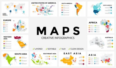 Sticker Vector map infographic. Slide presentation. Global business marketing concept. Color country. World transportation geography data. Economic statistic template. World, America, Africa, Europe, Asia