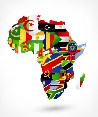 Sticker Vector map of Africa with flags and location on world map
