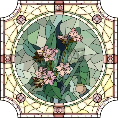 Sticker Vector mosaic with large cells of flowers forget-me-not with buds in round stained-glass window frame.
