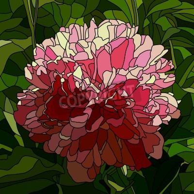 Sticker Vector mosaic with large cells of peony with leaves on green.