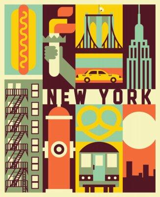 Sticker Vector New York background
