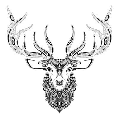 Sticker Vector Ornate Deer Horned Head