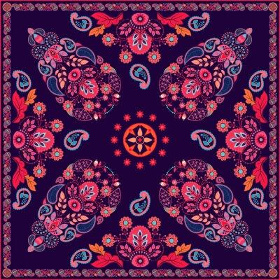Sticker Vector Paisley floral square design