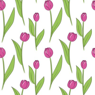 Sticker vector pink simple tulip flowers seamless pattern