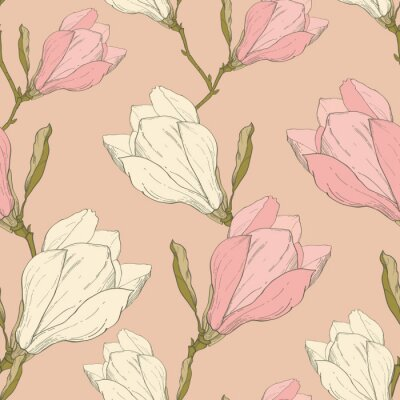 Sticker Vector Pink Vintage Magnolia Flowers Fabric Retro Repeating Seamless Pattern Hand Drawn In Botanical Style. Perfect For Fabric, Wallpaper, Packaging, Backgrounds, Greeting Cards.