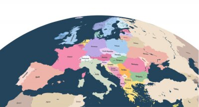 Sticker vector planet Earth globe with close up of Europe continent