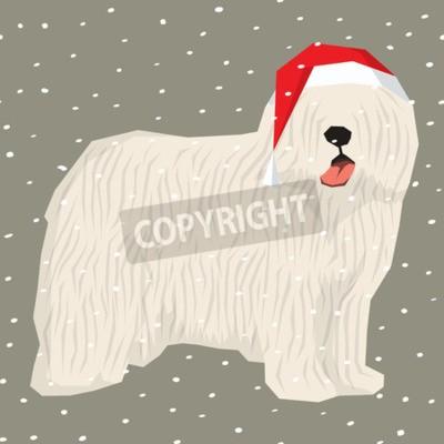 Sticker Vector polygon dog collection. Dog in Christmas Santa hat. Komondor