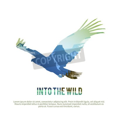 Sticker Vector poster on themes: wild animals of Canada, survival in the wild, hunting, camping, trip.