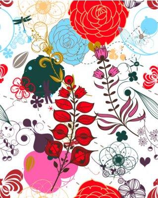 Sticker Vector Retro Floral (Seamless Pattern)