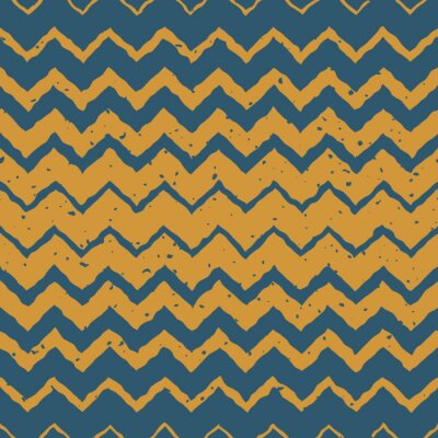 Sticker Vector Seamless Blue Yellow Color Hand Drawn Horizontal Gradient Halftone ZigZag Distorted Lines Grungy Ethnic Pattern