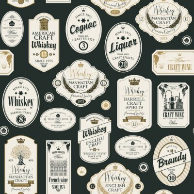 Sticker Vector seamless pattern with collage of labels for various alcoholic beverages in retro style with inscriptions of whiskey, liquor, cognac, wine, brandy.